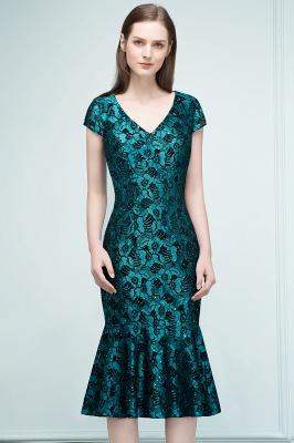 REGINA | Mermaid V-neck Tea Length Lace Appliqued Prom Dresses_4