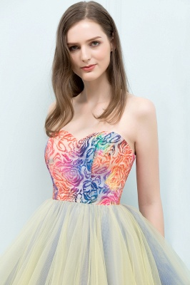 SHONA | A-line Strapless Sweetheart Short Sequined Tulle Homecoming Dresses_8