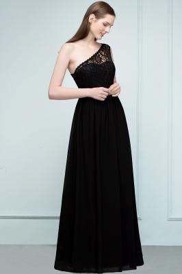 SYBIL   A-line One-shoulder Floor Length Lace Chiffon Bridesmaid Dresses with Sash_4