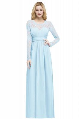 ROSALIE | A-line Floor Length Long Sleeves Lace Chiffon Bridesmaid Dresses_3