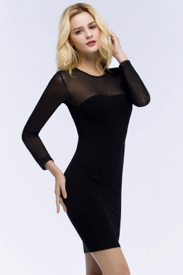 ROBERTA | Sheath Long Sleeves Sheer Neckline Plus Size Short Black Homecoming Dresses_4