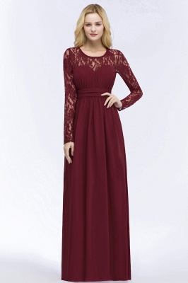 ROSALIE | A-line Floor Length Long Sleeves Lace Chiffon Bridesmaid Dresses_7