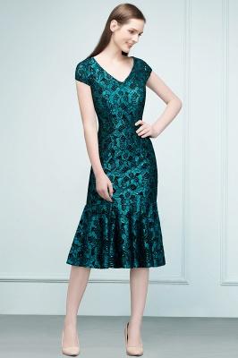REGINA | Mermaid V-neck Tea Length Lace Appliqued Prom Dresses_7