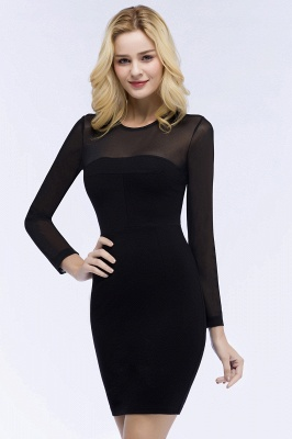 ROBERTA | Sheath Long Sleeves Sheer Neckline Plus Size Short Black Homecoming Dresses_9