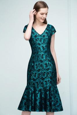 REGINA | Mermaid V-neck Tea Length Lace Appliqued Prom Dresses_9