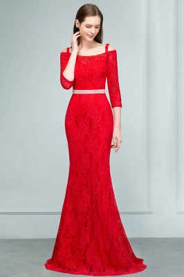 SUSANNAH | Mermaid Long Spaghetti Off-shoulder Lace Prom Dresses with Sleeves and Sash_4