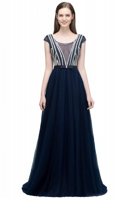 SUSY | A-line Floor Length Cap Sleeves Crystal Beading Tulle Prom Dresses with Sash_2