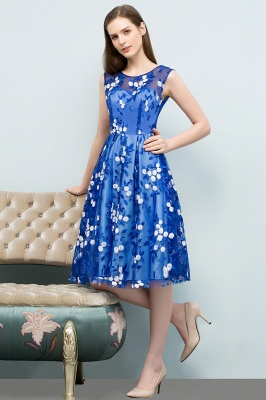 STARR | A-line Knee Length Sleeveless Flower Appliques Tulle Homecoming Dresses_1