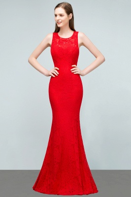 8562863ba0398 SUMMER | Mermaid Sleeveless Floor Length Red Lace Prom Dresses