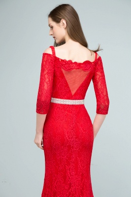 SUSANNAH | Mermaid Long Spaghetti Off-shoulder Lace Prom Dresses with Sleeves and Sash_9