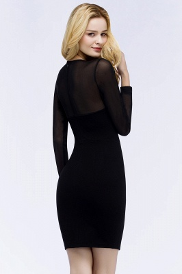 ROBERTA | Sheath Long Sleeves Sheer Neckline Plus Size Short Black Homecoming Dresses_3
