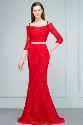 SUSANNAH | Mermaid Long Spaghetti Off-shoulder Lace Prom Dresses with Sleeves and Sash_1