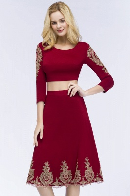 ROSAMOND | A-line Two-piece Long Sleeves Tea Length Appliques Homecoming Dresses_7