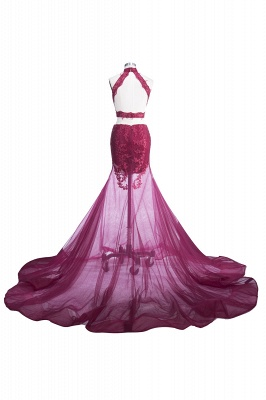 SALLIE | Mermaid High-Neck Burgundy Sheer-Tulle Lace Appliques Prom Dresses_3