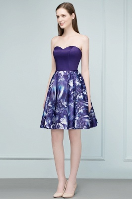 RICARDA | A-line Strapless Sweetheart Short Print Homecoming Dresses_1
