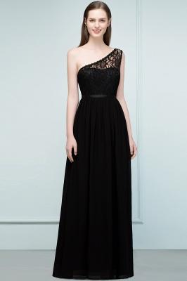 SYBIL   A-line One-shoulder Floor Length Lace Chiffon Bridesmaid Dresses with Sash_5