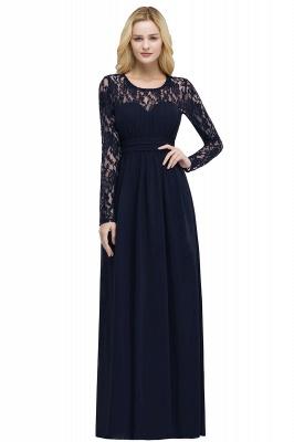ROSALIE | A-line Floor Length Long Sleeves Lace Chiffon Bridesmaid Dresses_4