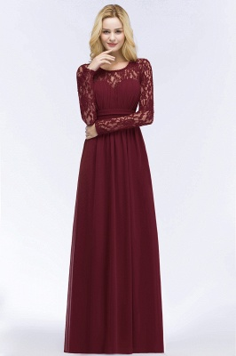 ROSALIE | A-line Floor Length Long Sleeves Lace Chiffon Bridesmaid Dresses_4