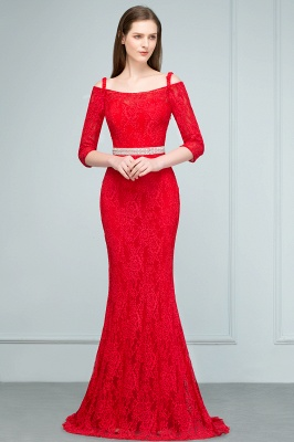 SUSANNAH | Mermaid Long Spaghetti Off-shoulder Lace Prom Dresses with Sleeves and Sash_5