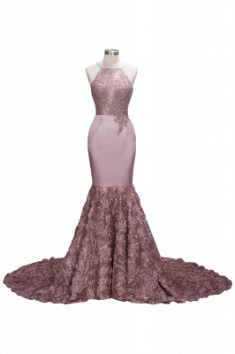 SALOME | Mermaid Long Spaghetti Rose Flowers Pink Beaded Prom Dresses_1
