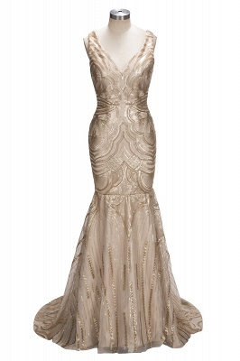 Champagne Gold V-neck Sleeveless Mermaid Sexy Deep Sequins Evening Gown_1