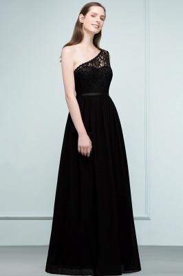 SYBIL   A-line One-shoulder Floor Length Lace Chiffon Bridesmaid Dresses with Sash_6