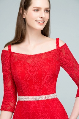 SUSANNAH | Mermaid Long Spaghetti Off-shoulder Lace Prom Dresses with Sleeves and Sash_8