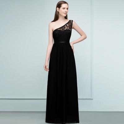 SYBIL   A-line One-shoulder Floor Length Lace Chiffon Bridesmaid Dresses with Sash_8