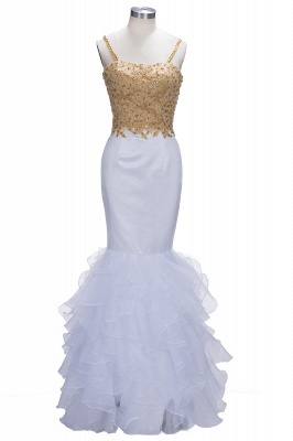 Mermaid Spaghetti Straps Evening Gowns | Lace Appliques Sleeveless Ruffles Prom Dresses Cheap_1