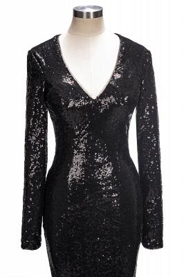 V-Neck Sequins Mermaid Long Sleeve Shiny Black Long Prom Dresses Cheap   Black Prom Dresses Cheap_1