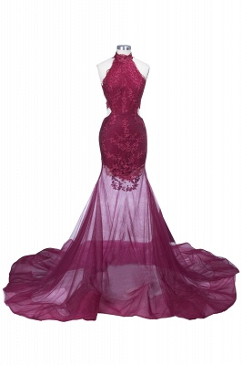 SALLIE | Mermaid High-Neck Burgundy Sheer-Tulle Lace Appliques Prom Dresses_5