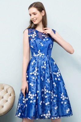 STARR | A-line Knee Length Sleeveless Flower Appliques Tulle Homecoming Dresses_9