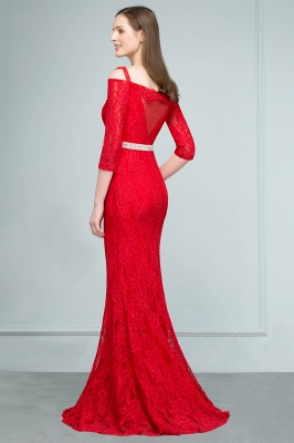SUSANNAH | Mermaid Long Spaghetti Off-shoulder Lace Prom Dresses with Sleeves and Sash_3