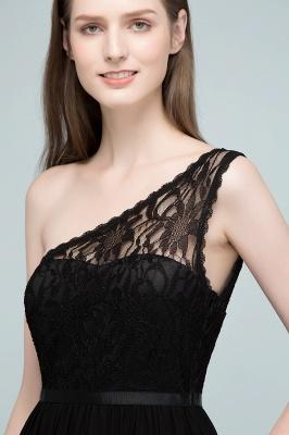 SYBIL   A-line One-shoulder Floor Length Lace Chiffon Bridesmaid Dresses with Sash_9