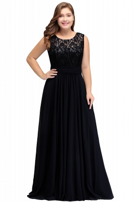 IVY | A-Line Crew Long Plus size Sleeveless Dark Navy Formal Dresses with Lace_4
