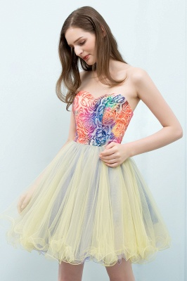 SHONA | A-line Strapless Sweetheart Short Sequined Tulle Homecoming Dresses_6
