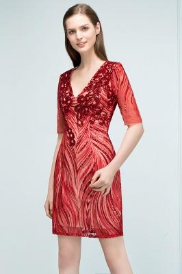 STEPHANIE | Sheath V-neck Half Sleeves Short Sequins Homecoming Dresses_5