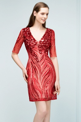 STEPHANIE | Sheath V-neck Half Sleeves Short Sequins Homecoming Dresses_4