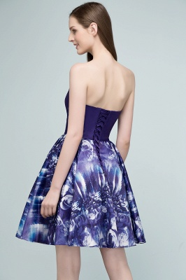 RICARDA | A-line Strapless Sweetheart Short Print Homecoming Dresses_3