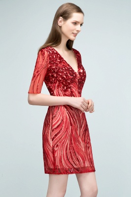 STEPHANIE | Sheath V-neck Half Sleeves Short Sequins Homecoming Dresses_9