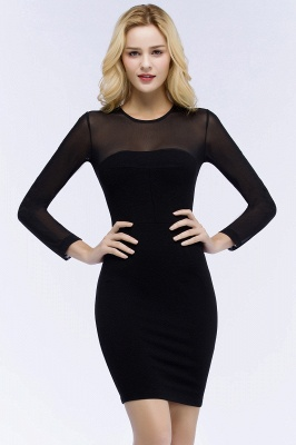 ROBERTA | Sheath Long Sleeves Sheer Neckline Plus Size Short Black Homecoming Dresses_1