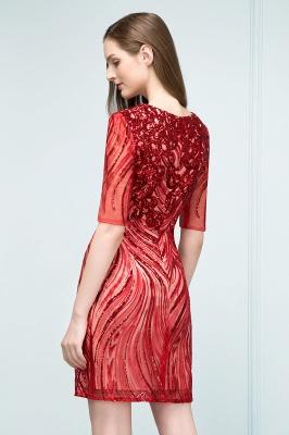 STEPHANIE | Sheath V-neck Half Sleeves Short Sequins Homecoming Dresses_6
