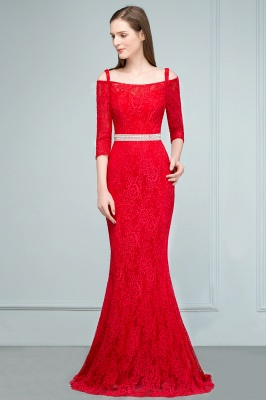 SUSANNAH | Mermaid Long Spaghetti Off-shoulder Lace Prom Dresses with Sleeves and Sash_7