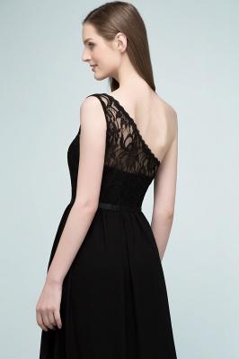 SYBIL   A-line One-shoulder Floor Length Lace Chiffon Bridesmaid Dresses with Sash_7