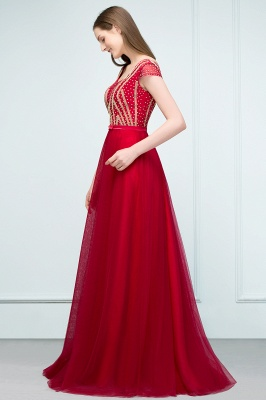 SUSY | A-line Floor Length Cap Sleeves Crystal Beading Tulle Prom Dresses with Sash_4