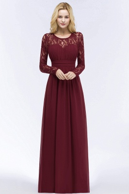 ROSALIE | A-line Floor Length Long Sleeves Lace Chiffon Bridesmaid Dresses_5