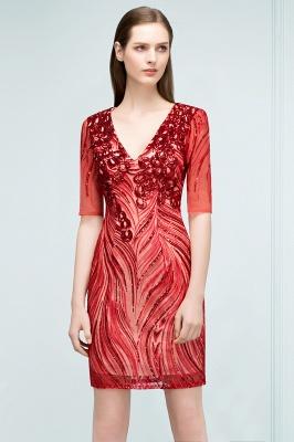 STEPHANIE | Sheath V-neck Half Sleeves Short Sequins Homecoming Dresses_8