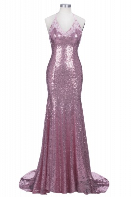 Sexy Pink Sequined Mermaid Sleeveless Spaghetti Strap Prom Dress_1