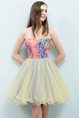 SHONA | A-line Strapless Sweetheart Short Sequined Tulle Homecoming Dresses_5