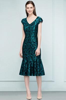 REGINA | Mermaid V-neck Tea Length Lace Appliqued Prom Dresses_6